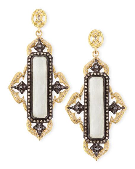 Old World Moonstone Cravelli Cross Earrings