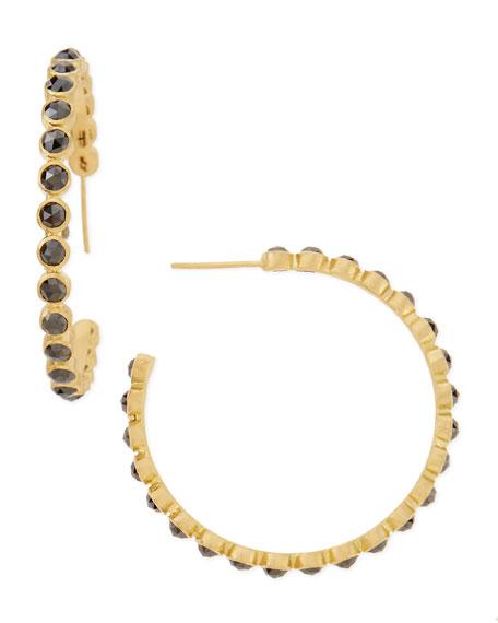 18k Gold Sueno Eternity Black Diamond Hoop Earrings