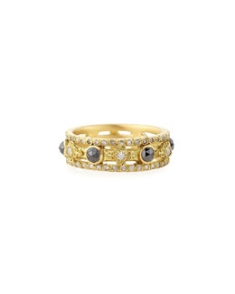 Armenta Sueno Yellow Gold Band Ring with Diamonds