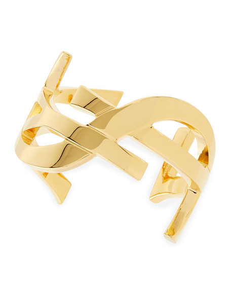 90a3a0afec Golden YSL Logo Cuff Bracelet