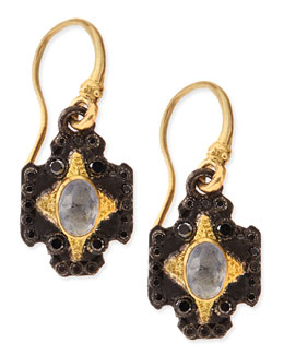 Armenta Midnight Cross Earrings with Kyanite & White Diamonds