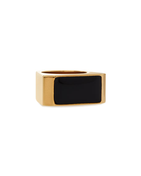 Saint Laurent Black/Golden Colorblock Ring