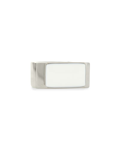 White/Silvertone Colorblock Ring