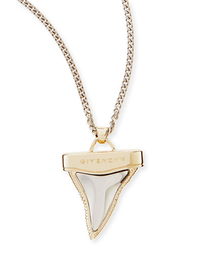 Golden & Gunmetal Doubled Shark Tooth Necklace, 34""