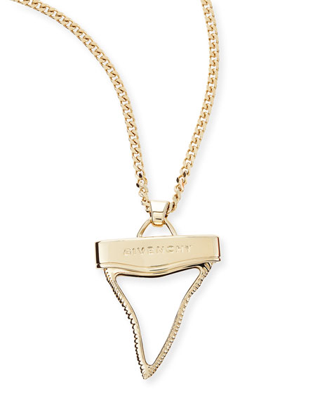 Golden Shark Tooth Necklace, White, 36""