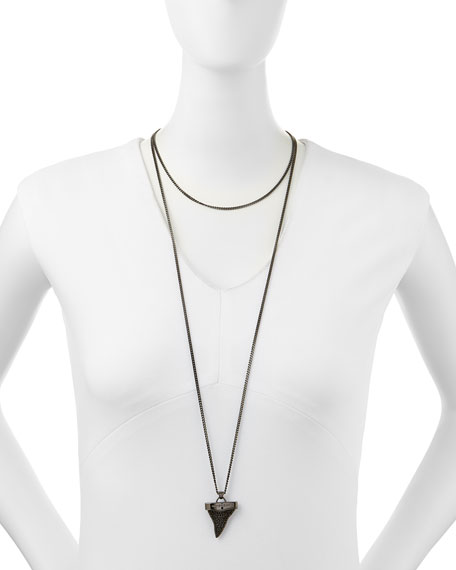 Gunmetal Pave Shark Tooth Necklace, 36""