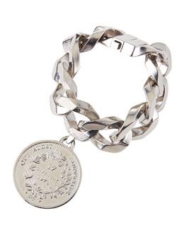 Givenchy Silvertone Medallion Bracelet
