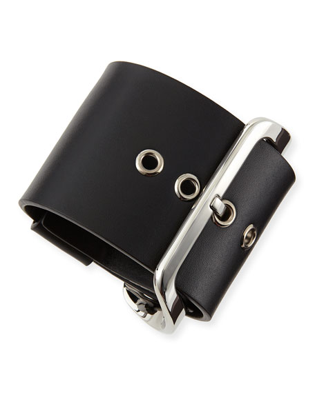 Buckled Leather Cuff, Black