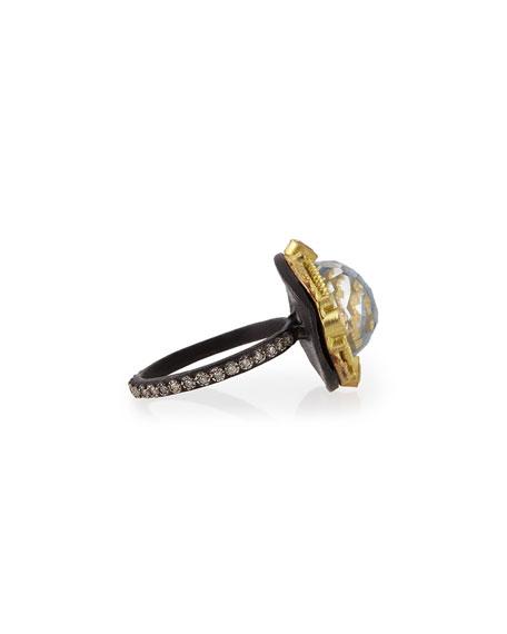 Round Kyanite Midnight Ring with Diamonds