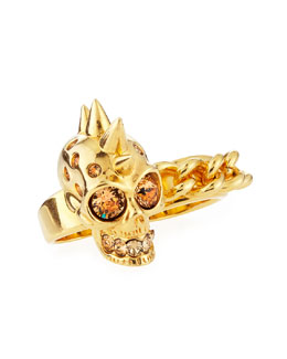 Alexander McQueen Skull & Chain Two-Finger Ring