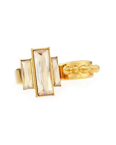 Crystal-Stud Two-Finger Ring