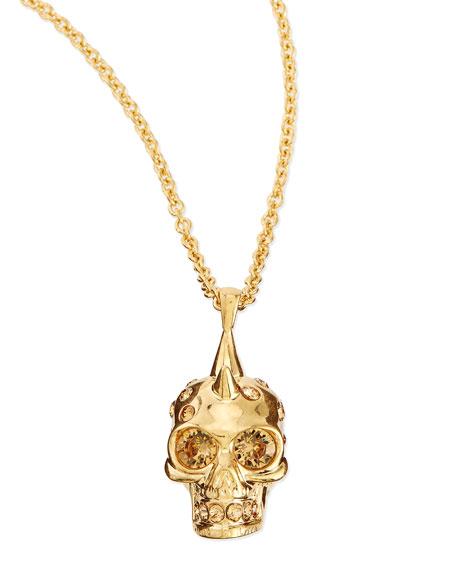 Punk Skull Pendant Necklace, Golden