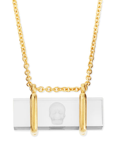 Skull-Etched Acrylic Pendant Necklace