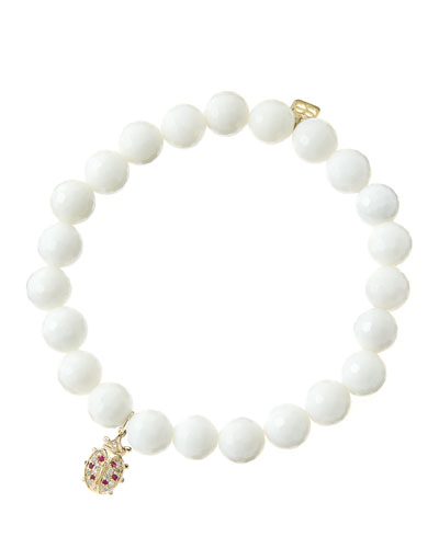 8mm Faceted White Agate Beaded Bracelet with 14k Gold/Diamond Medium Ladybug Charm (Made to Order)