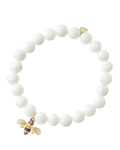 8mm Faceted White Agate Beaded Bracelet with 14k Gold/Diamond Bee Charm (Made to Order)
