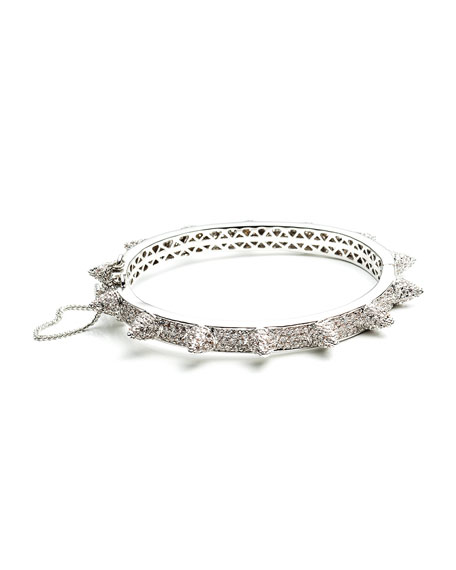 Rhodium Plated Pave Crystal Bracelet with Cones