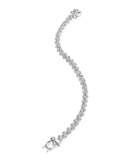 Rhodium Plated Pave Crystal Mini Cone Bracelet