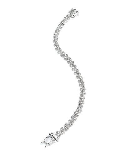 Rhodium Plated Pave Crystal Mini Cone Bracelet