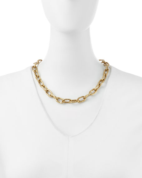 "18"" Hammered Bronze Chain Necklace"