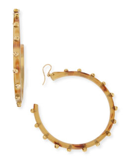 Ashley Pittman Duara Studded Hoop Earrings, Light Horn