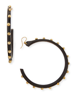 Ashley Pittman Duara Studded Hoop Earrings, Dark Horn