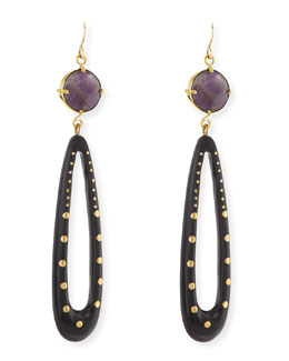 Ashley Pittman Shimo Amethyst and Dark Horn Earrings