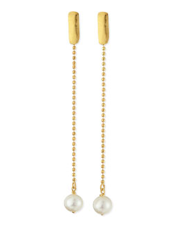 Herve Van Der Straeten 24k Gold Plated Yucata Single Pearl Drop Earrings