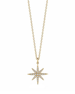 Elizabeth and James Compass White Topaz Star Pendant Necklace