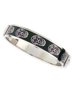 Small Enamel Skull Bangle, Dark Purple/Evergreen