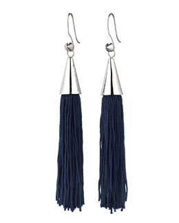 Silvertone Small Silk Tassel Earrings, Navy