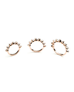 Rose Gold Plated Eternity Cone Ring, Set of 3