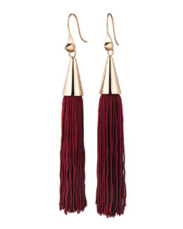 Eddie Borgo Rose Gold Plated Small Silk Tassel Earrings, Bordeaux