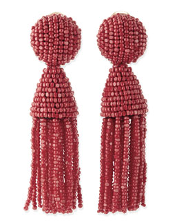 Oscar de la Renta Beaded Short Tassel Clip-On Earrings, Red