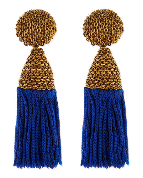 Blue Silk Tassel Earrings