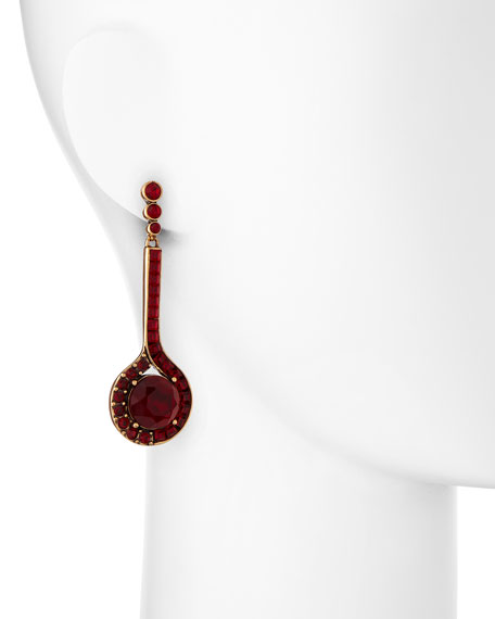 Cardinal Red Crystal Drop Earrings