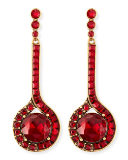 Oscar de la Renta Cardinal Red Crystal Drop Earrings