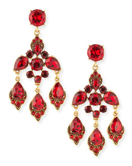 Oscar de la Renta Cardinal Red Crystal Chandelier Clip-On Earrings