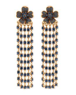 Oscar de la Renta Flower Drop Earrings with Crystal Fringe, Navy