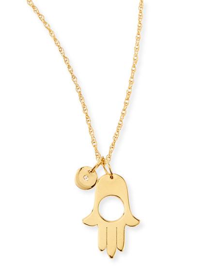 Ester Hamsa & Diamond Charm Necklace