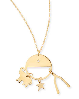 Noa Elephant, Star, and Wishbone Necklace
