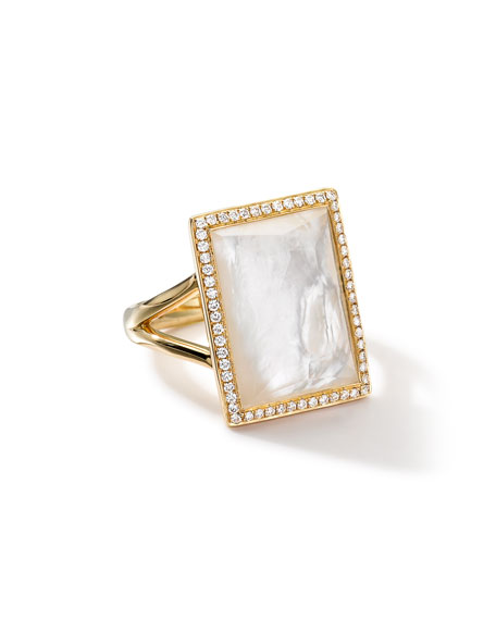 18k Gold Gelato Medium Mother-of-Pearl Baguette Ring with Diamonds