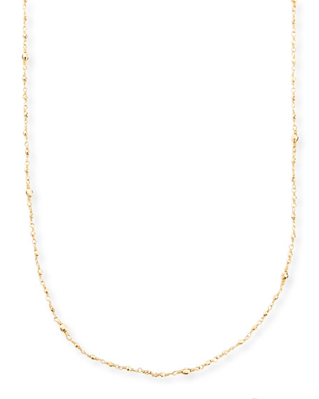 14k Gold-Beaded Station Necklace, 34""