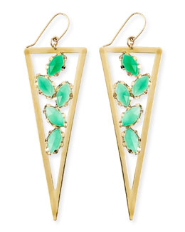 Lana Ultra Envy 14k Gold Green Onyx Spike Earrings