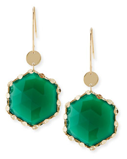 Lana Envy Hexagon Green Onyx Earrings