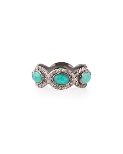Stackable Malachite/Blue Topaz & Diamond Ring,  Size 6.5