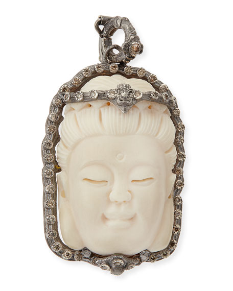 Armenta Bone Buddha Enhancer with Champagne Diamonds