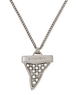 """Givenchy Gunmetal Shark Tooth Necklace with Pearls, 36"""""""