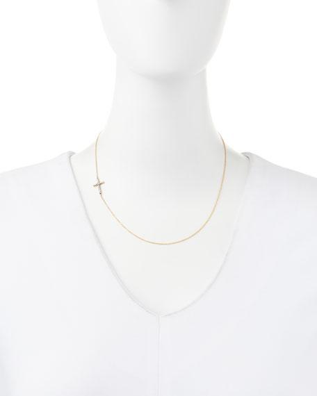 Pave Diamond Side Cross Necklace