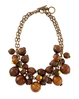 Wooden Bauble Bib Necklace