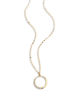Lana Femme Small Circle Necklace with Diamonds